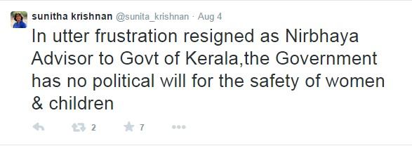 Sunitha Krishnan Left Kerala Govt.