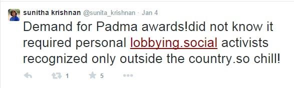 Sunitha Krishnan Padma Award