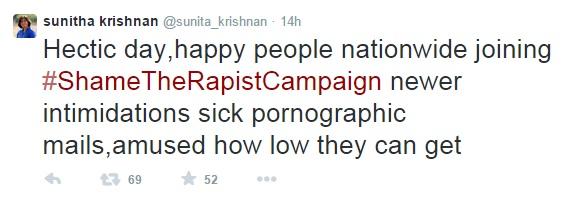 Sunitha Krishnan Intimidation claim