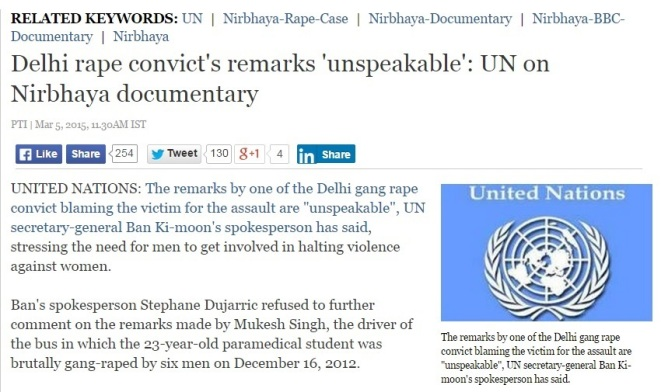 Irresponsible comment from UN