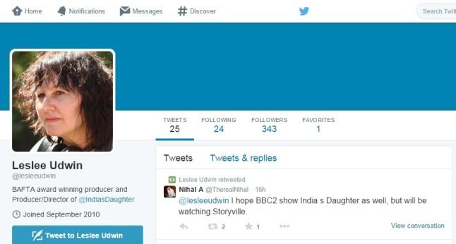 Leslee Udwin's Twitter profile