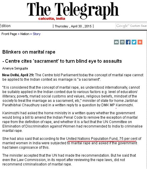 The Telegraph on Marital Rape in India