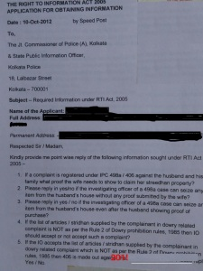 RTI to Kolkata police on 498a