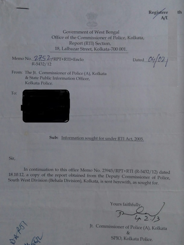 Kolkata police reply on 498a RTI