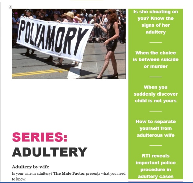 Adultery series on The Male Factor