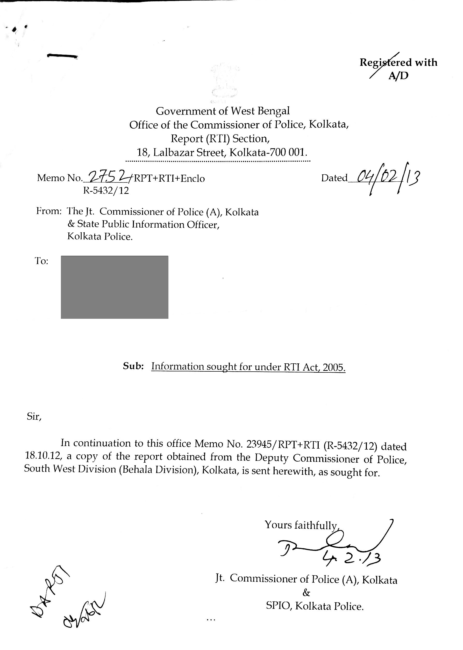 Rti reveals important kolkata police circular on dowry cases the reply cover letter reply pg1 police circular spiritdancerdesigns Choice Image