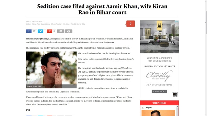 Aamir Khan Sedition Charge