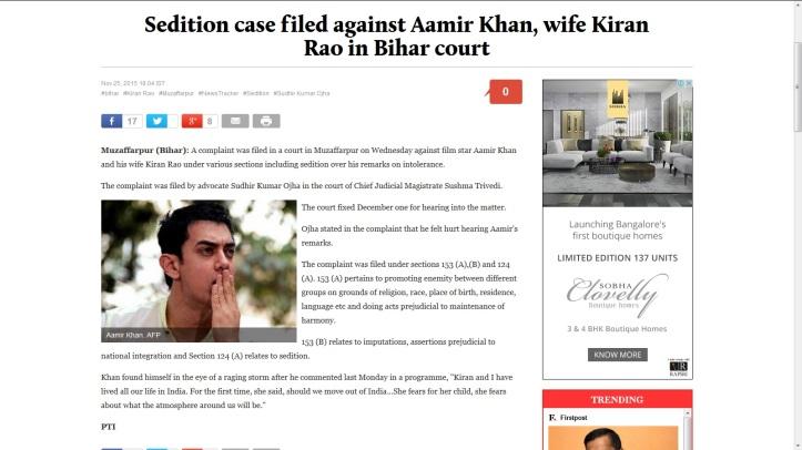 Aamir Khan Sedition Charge