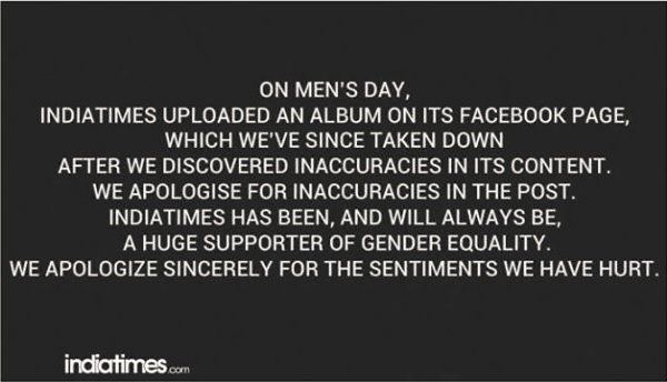 Indiatimes apology for Men's Day post