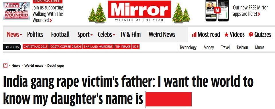 Use Nirbhaya's name - parent