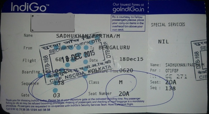 Indigo boarding pass