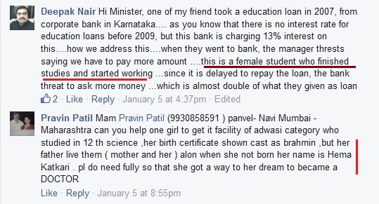 Seeking money for girls from Maneka Gandhi