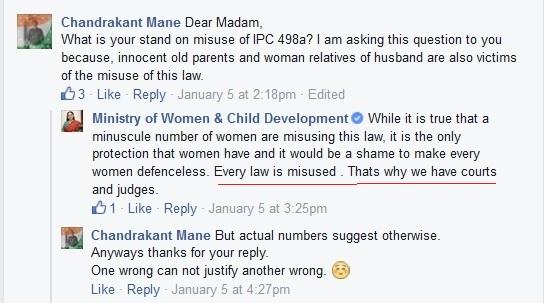 Man asking 498a misuse to Maneka Gandhi