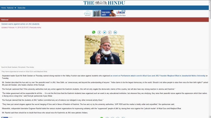 Geelani on JNU