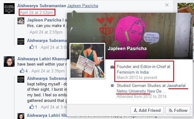 Slut Shaming Bangalore Japleen Pasricha