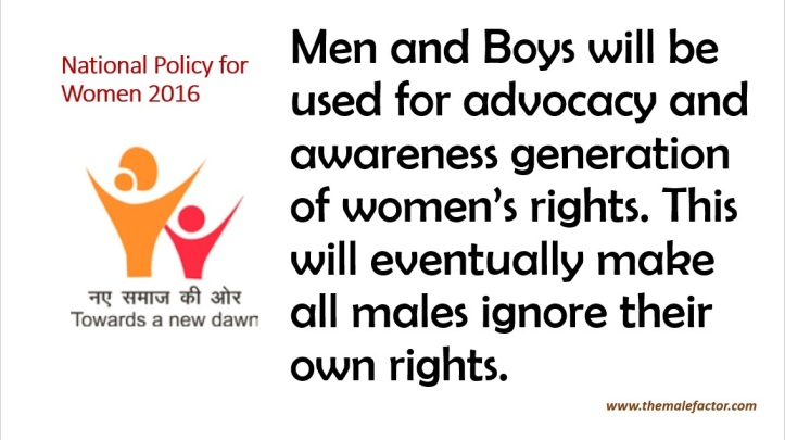 National Policy For Women - Mens will be used