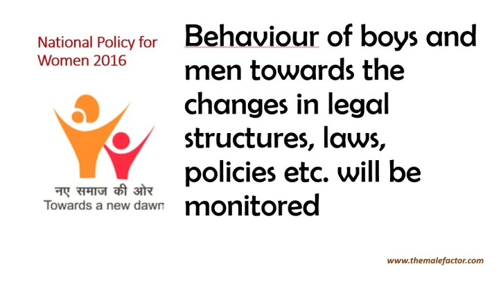 National Policy For Women - monitoring male behavior
