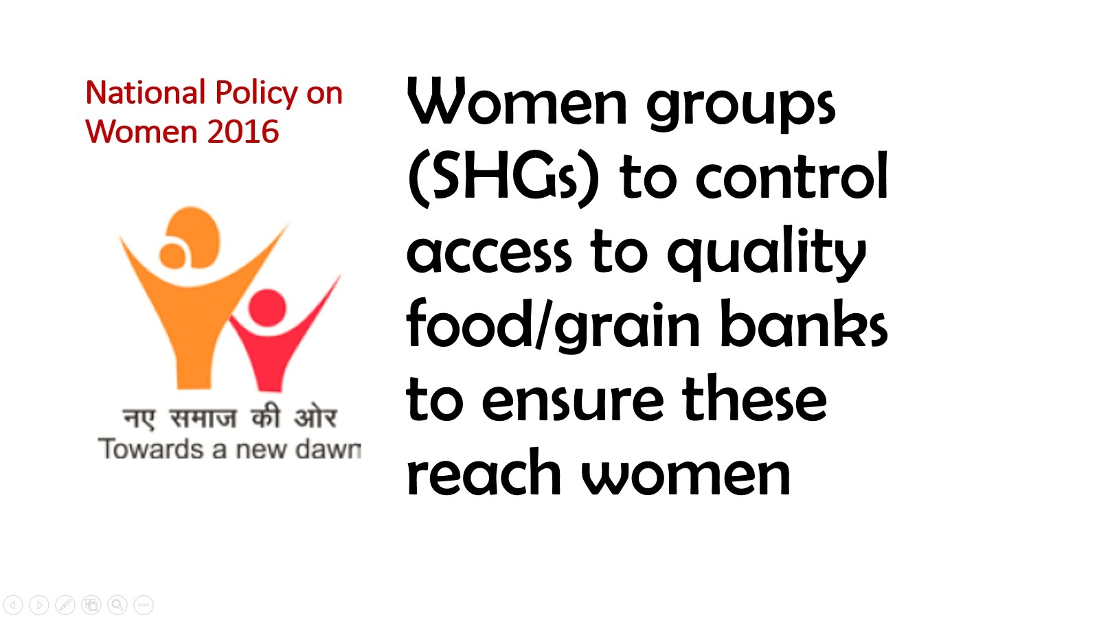 National policy on women_Women to control food