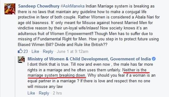 Maneka Gandhi on marriage system