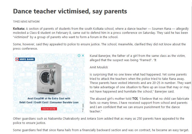 Carmel School TOI Biased Reporting