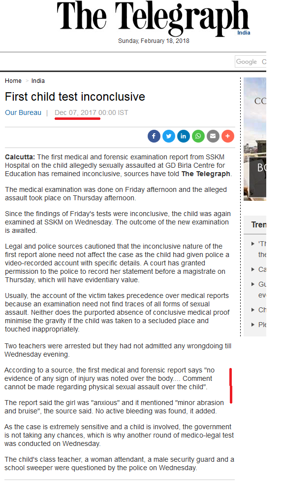 G D Birla School Sexual Abuse 1st Medical Report