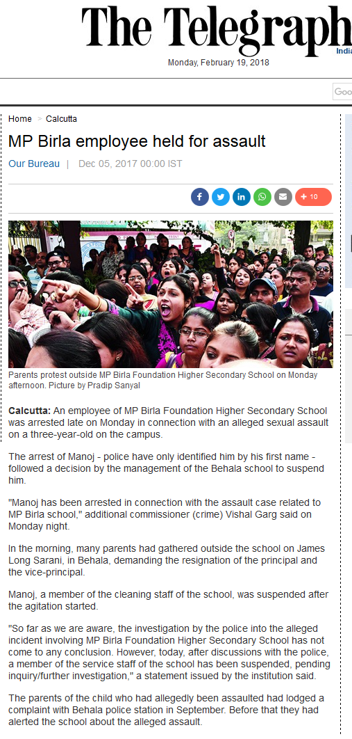 M P Birla School Child Sexual Assault