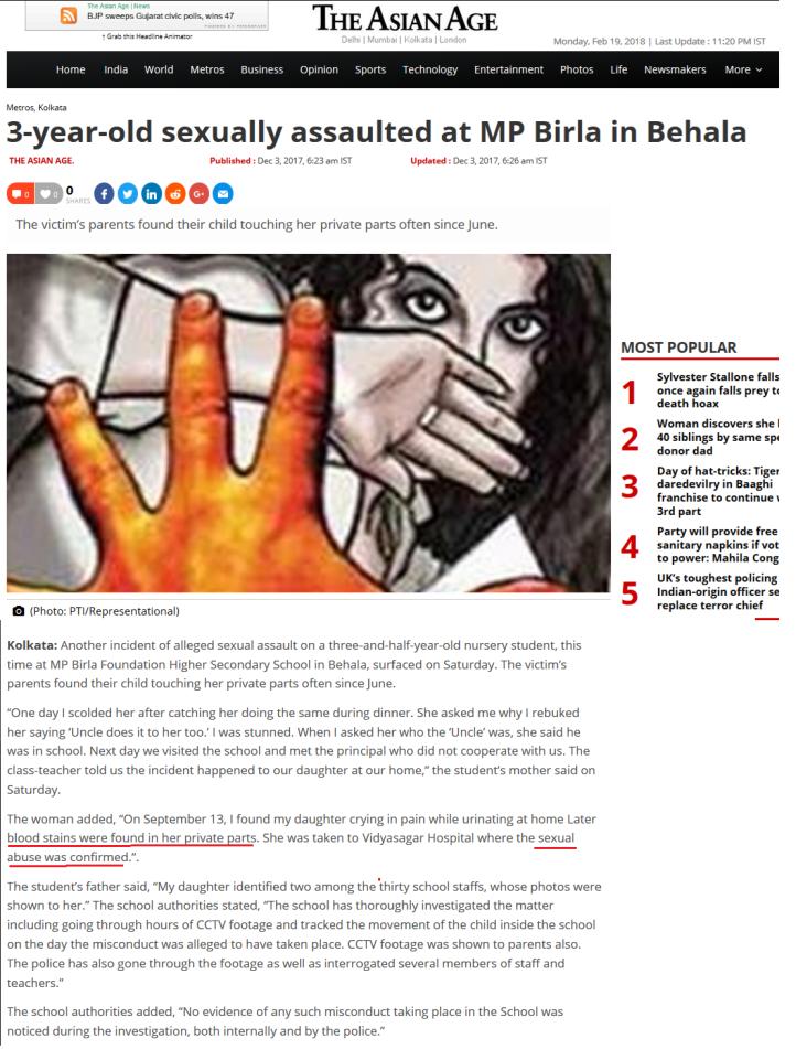 M P Birla School Abuse Asian Age