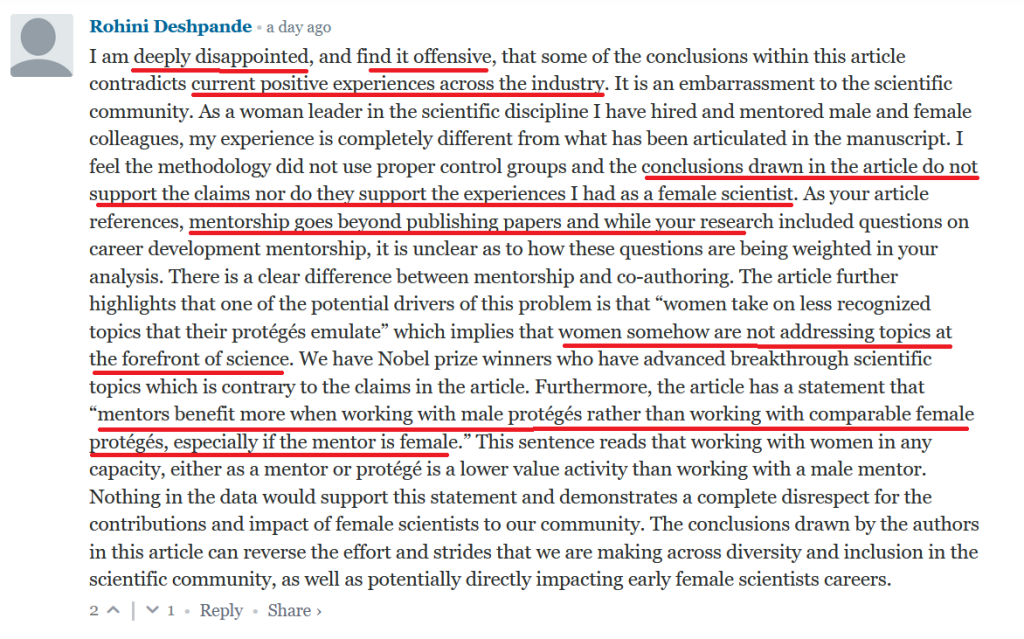 Refuting the study by a woman leader in tech