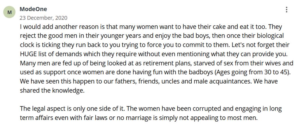 Men viewed as retirement plan by women